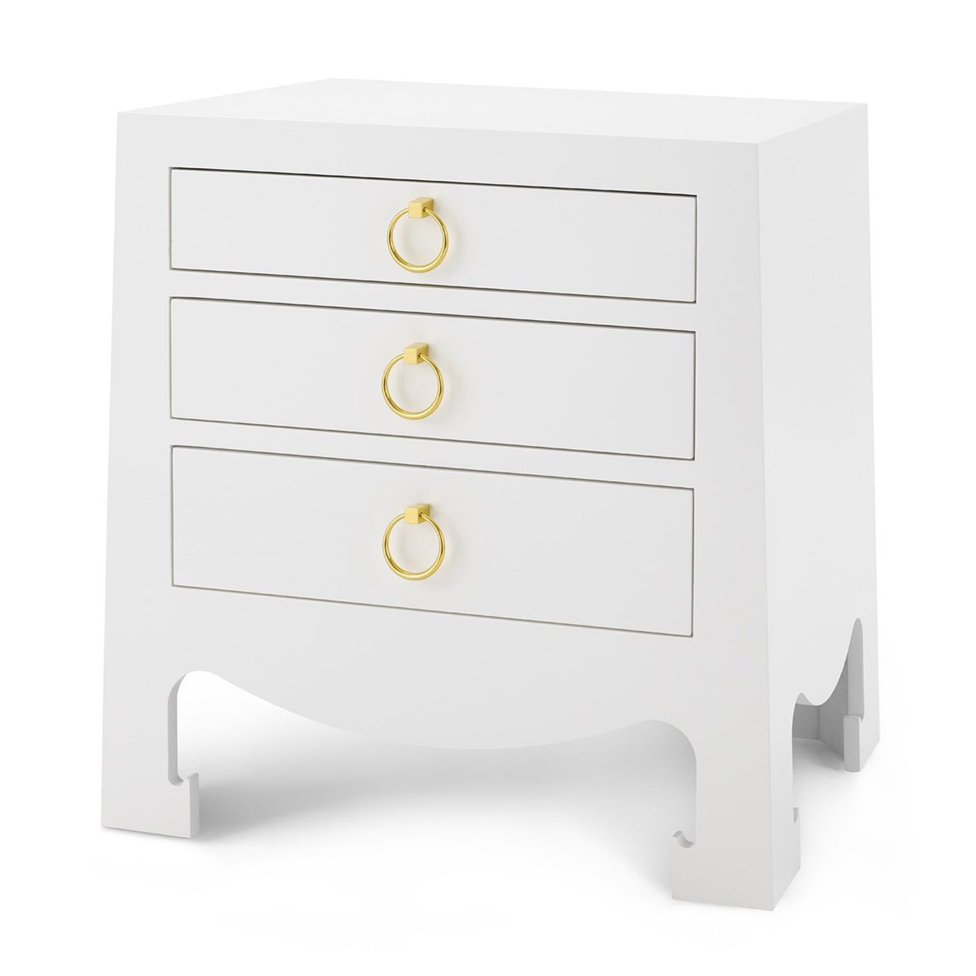 Bungalow 5 Jacqui 3 Drawer Side Table White JAC-130-09 Angle bed side table, bedroom side table, modern side table, white side table