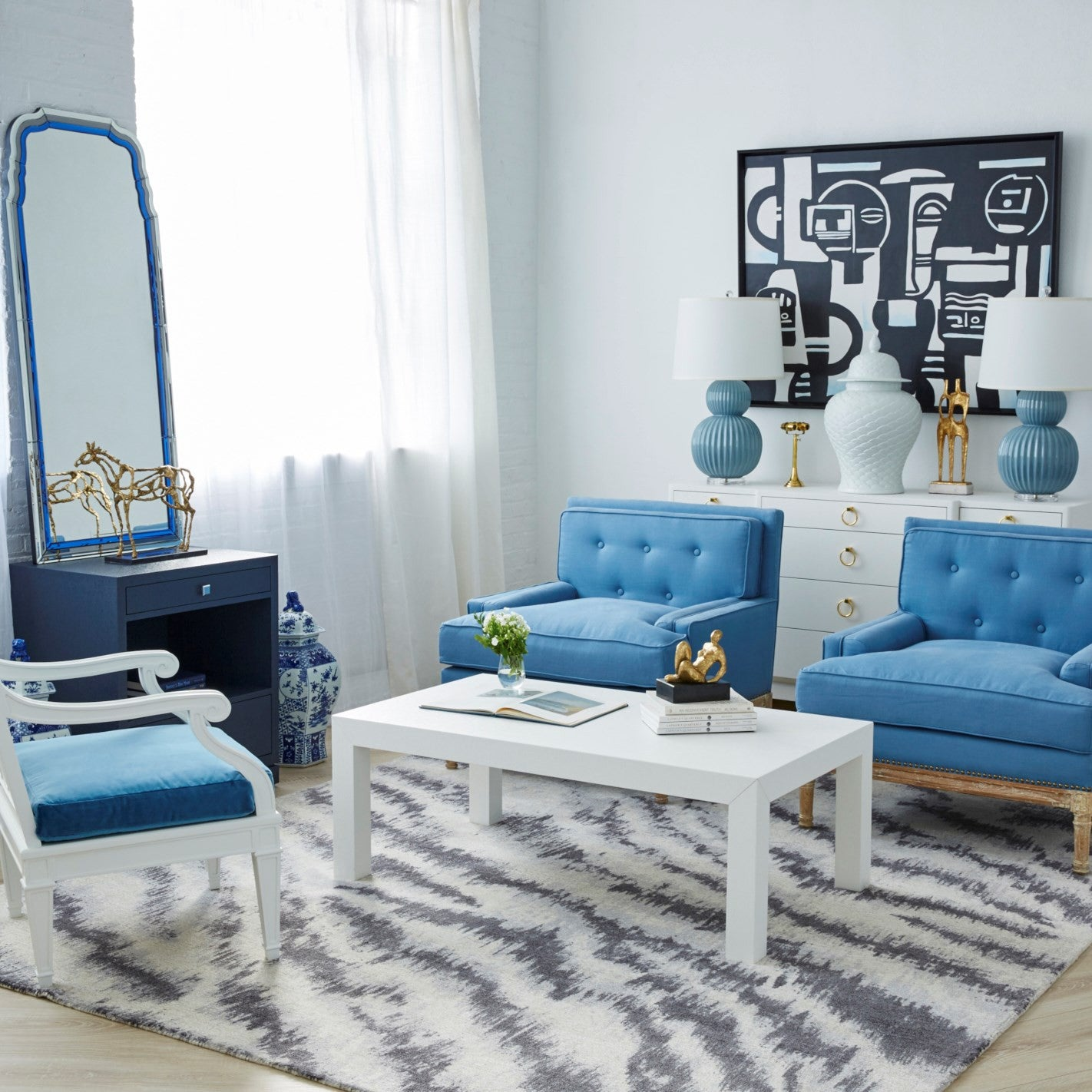 Parson coffee table in navy blue bungalow 5 - Bungalow 5 Parsons Coffee Table White Room View