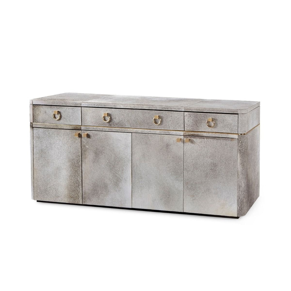 bungalow 5 andre 3 drawer four door cabinet gray angle