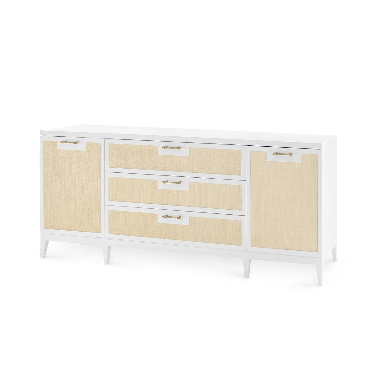 bungalow 5 astor 3 drawer and 2 door cabinet white angled