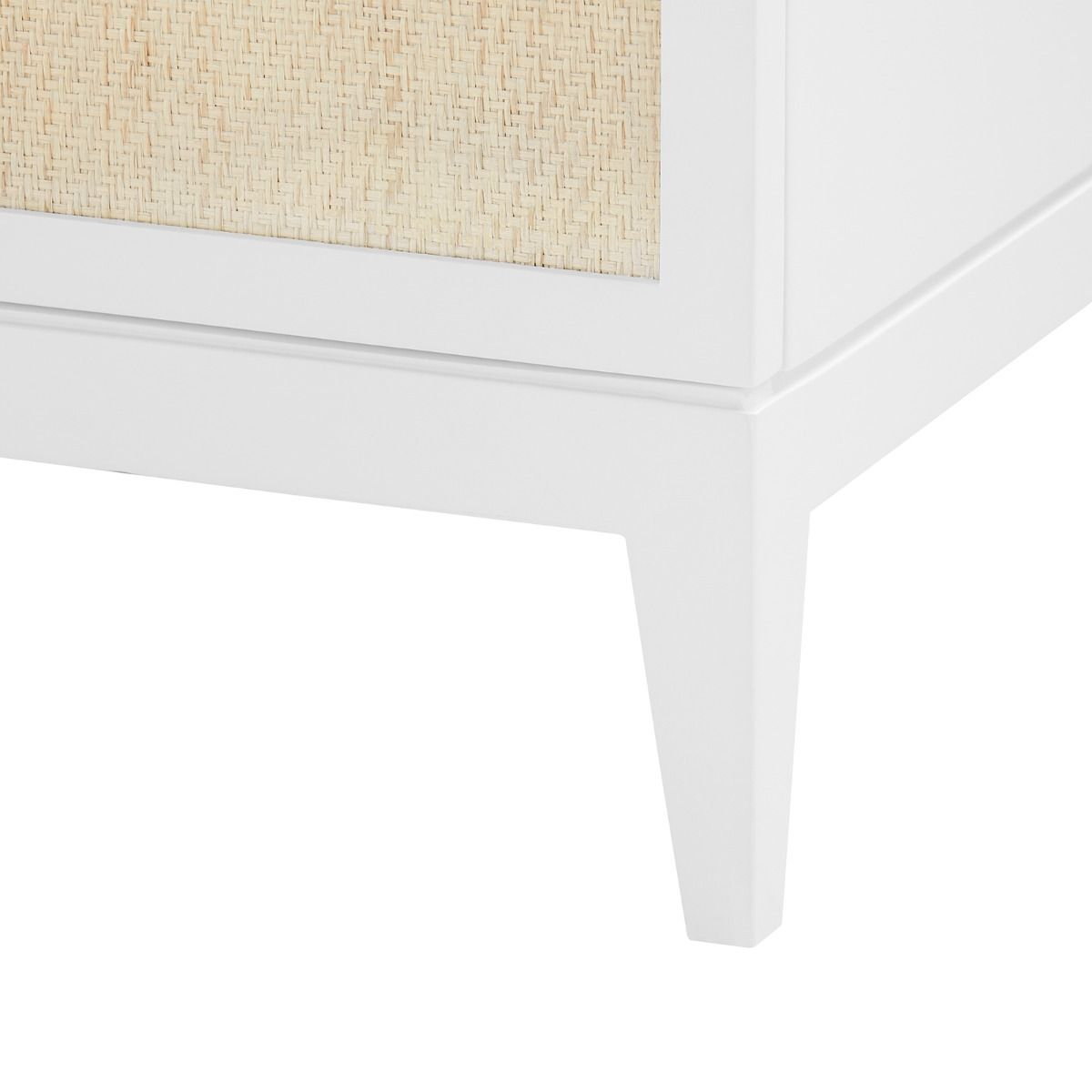 bungalow 5 astor 3 drawer and 2 door cabinet white leg detail