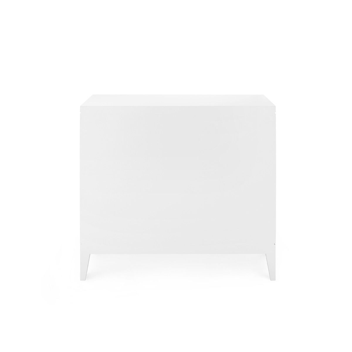 bungalow 5 astor 3 drawer side table white back of table