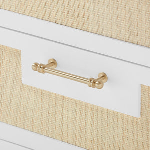 bungalow 5 astor 3 drawer side table white brass pull detail