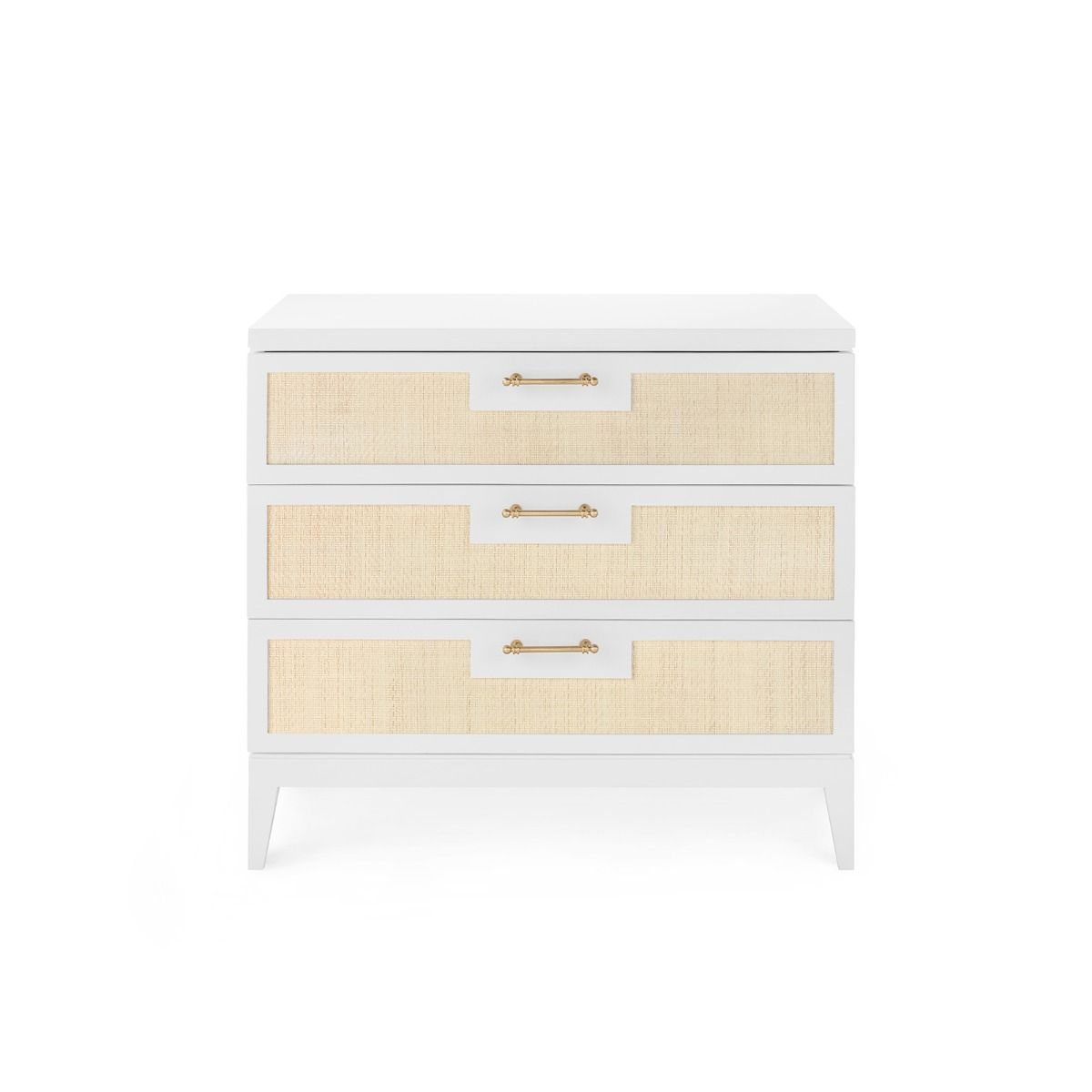 bungalow 5 astor 3 drawer side table white forward facing