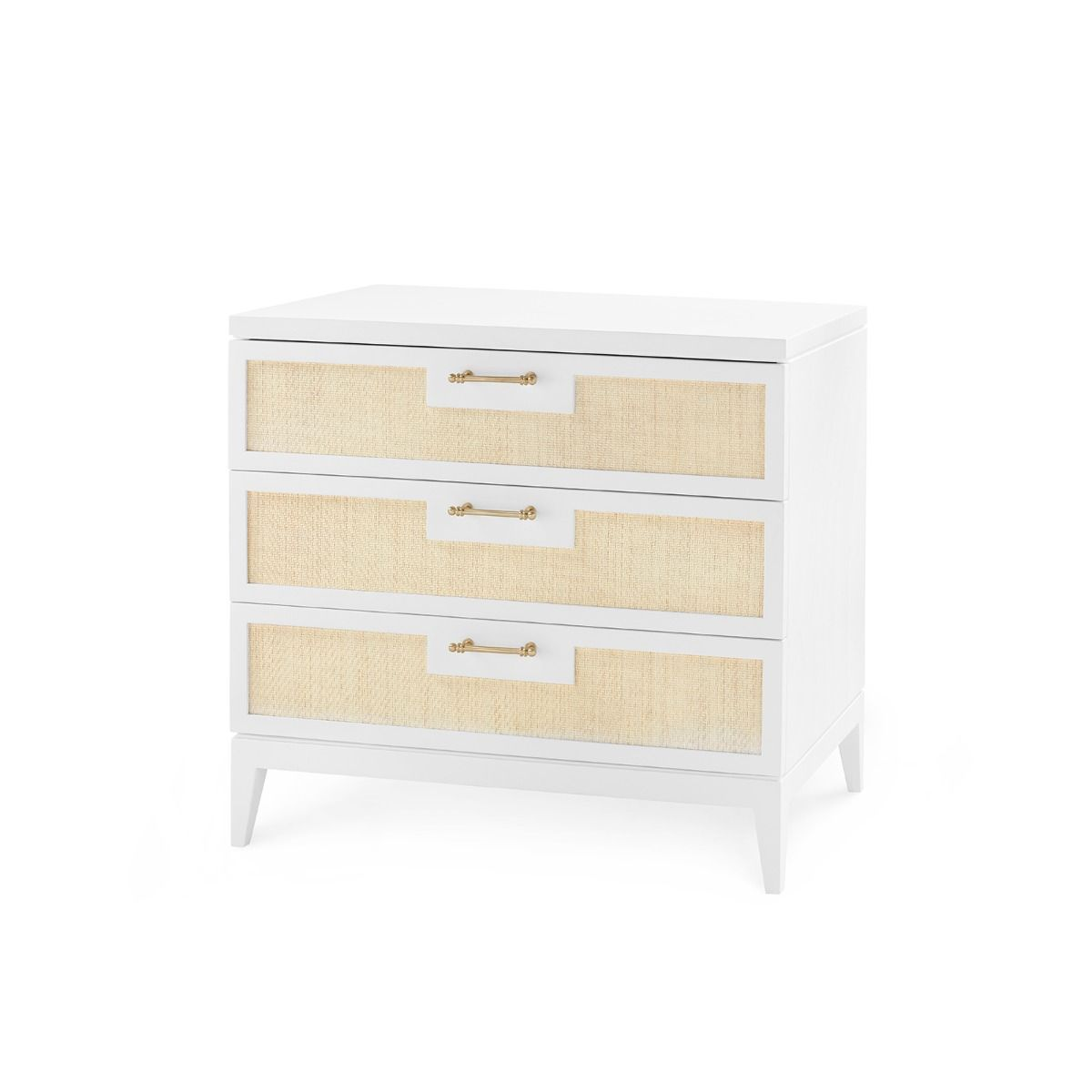 bungalow 5 astor 3 drawer side table white angled