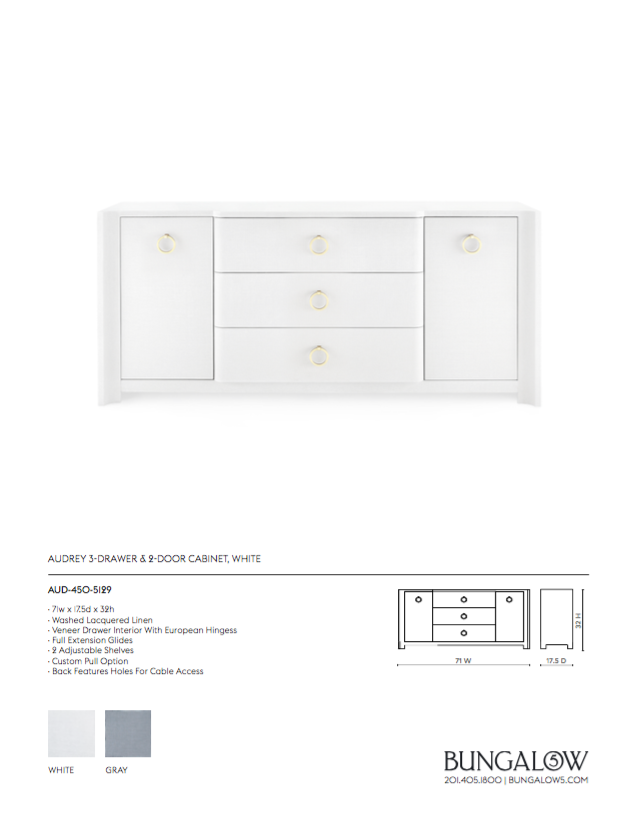 bungalow 5 audrey 3 drawer two door cabinet white tearsheet