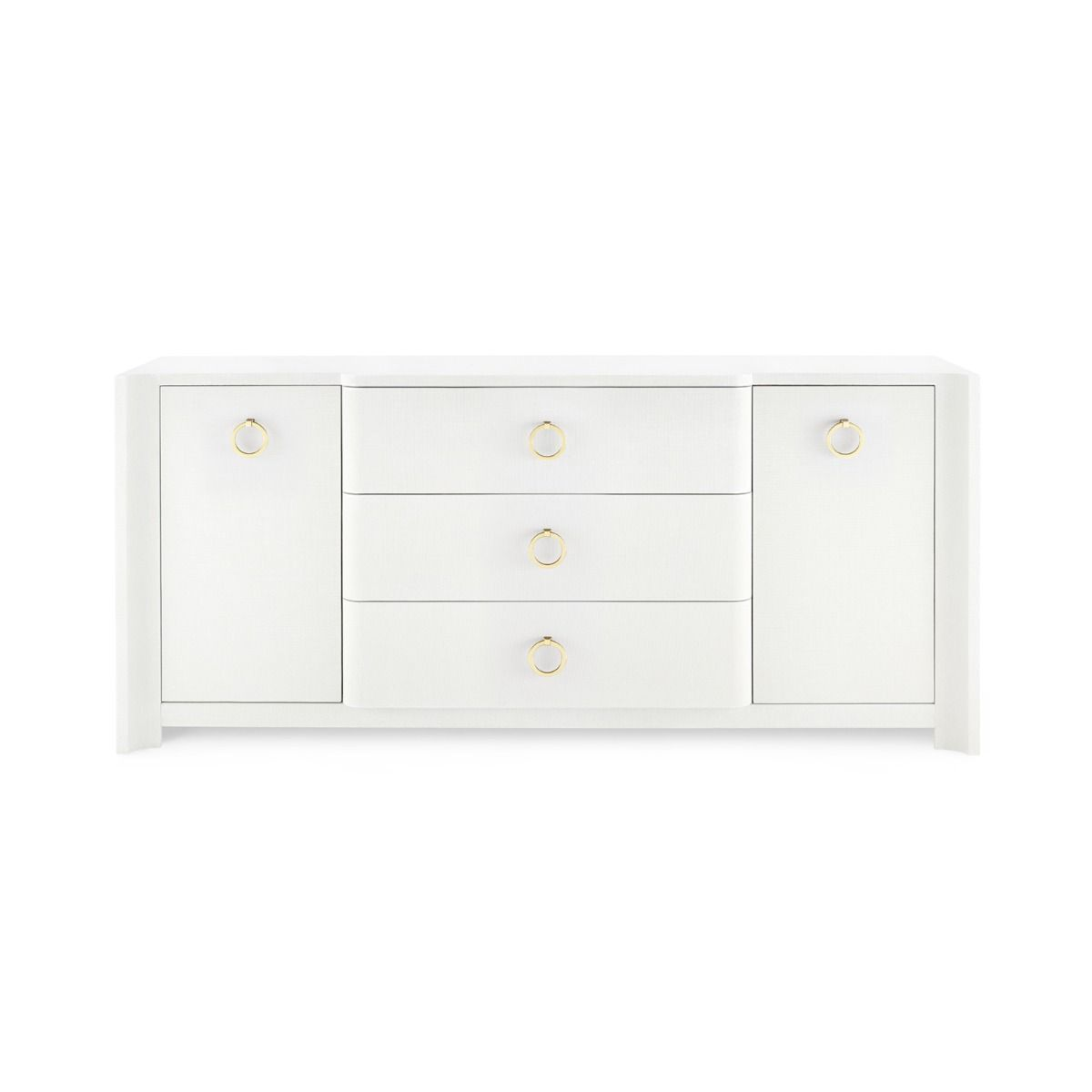 bungalow 5 audrey 3 drawer two door cabinet white front