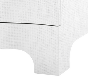 Bungalow 5 Bardot 3 Drawer Side Table White Grasscloth detail