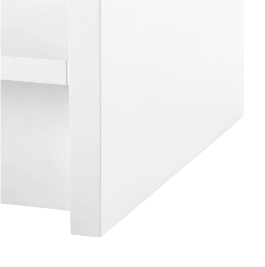 Bungalow 5 Benjamin 1 Drawer Side Table White Gold Pull corner detail