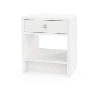 Bungalow 5 Benjamin Linen 1 Drawer Side Table White Antique Bronze Pull