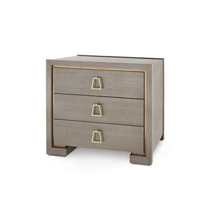 bungalow 5 blake three drawer side table taupe gray angle