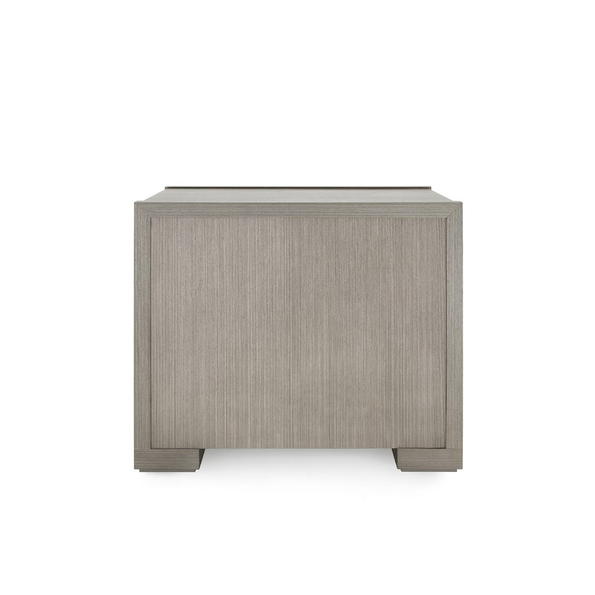 bungalow 5 blake three drawer side table taupe gray back