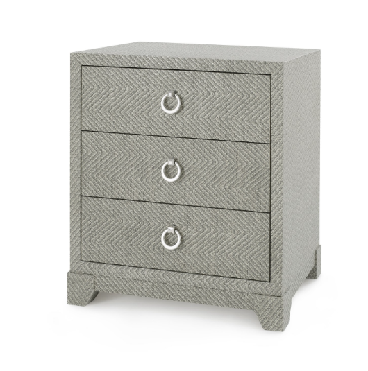 Bungalow 5 Brittany 3-Drawer Side Table Gray Lacquered Tweed