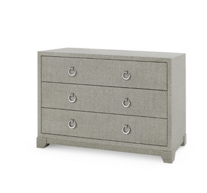 Bungalow 5 Brittany Large 3-Drawer Gray Tweed Nickel Grasscloth
