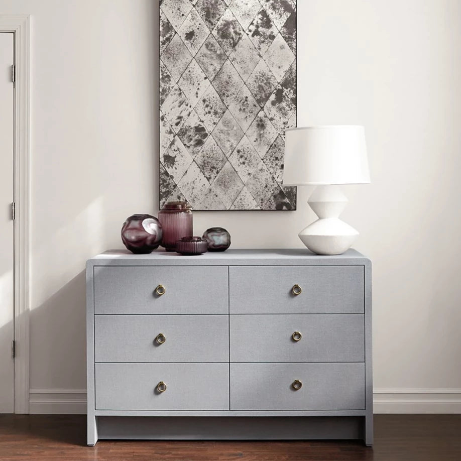 bungalow 5 bryant linen extra large 6 drawer chest gray styled