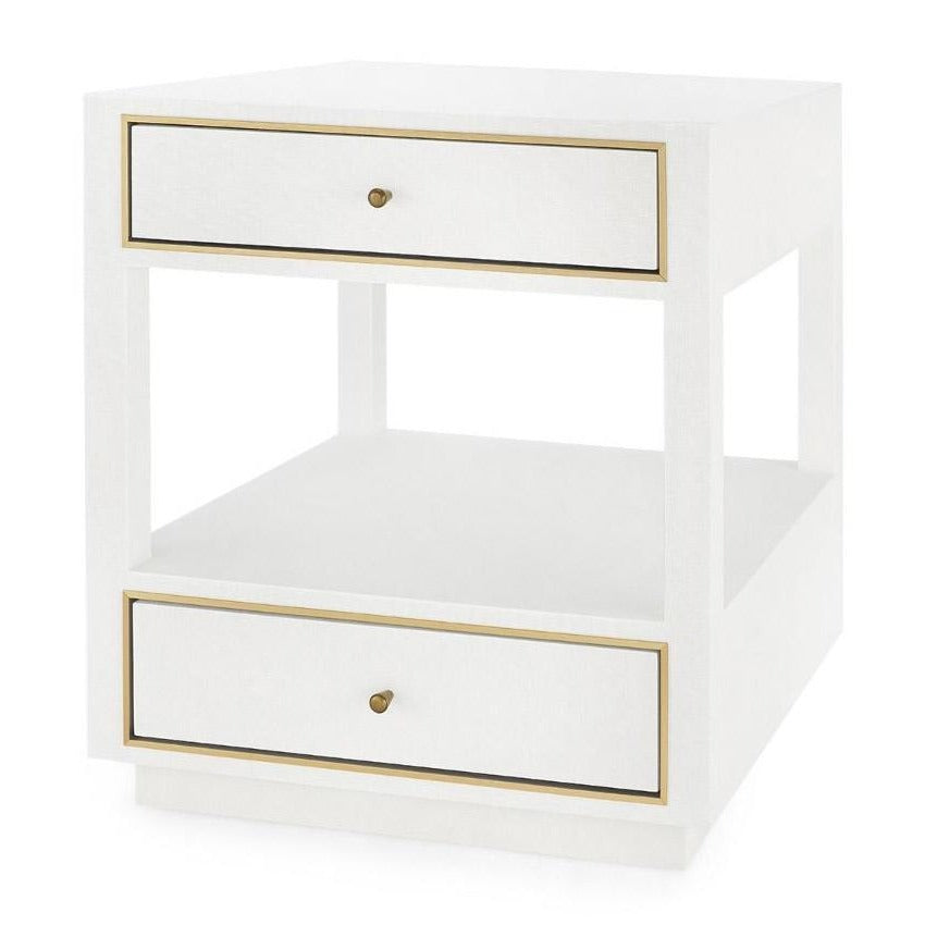 bungalow 5 carmen two drawer side table white angle