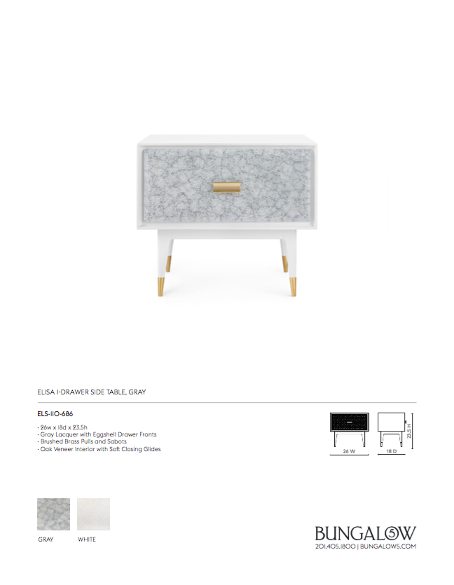 Elisa One Drawer Side Table Gray