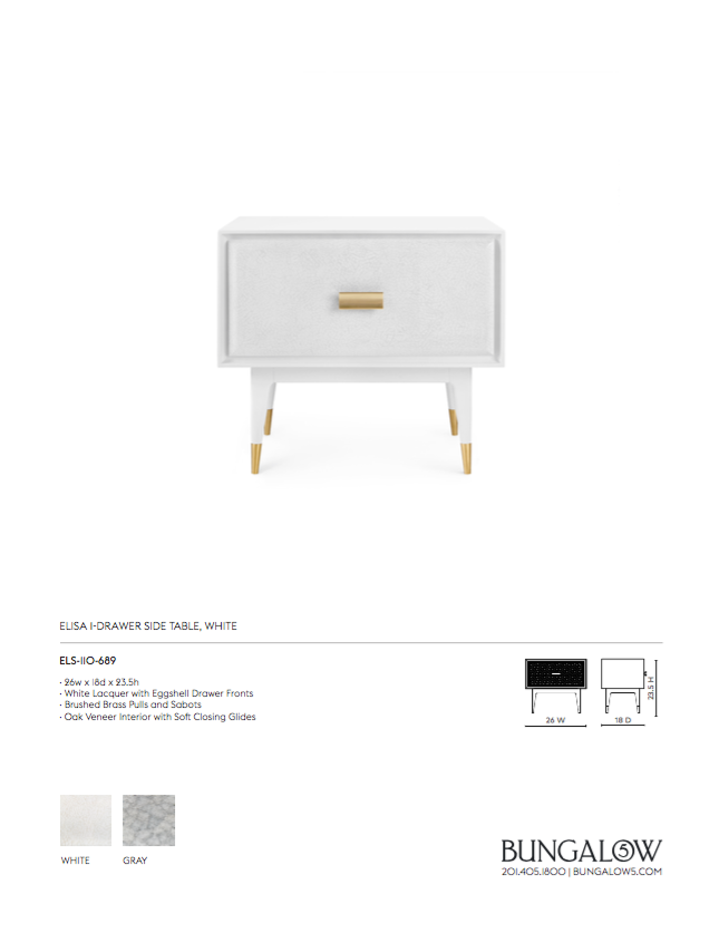 bungalow 5 elisa one drawer side table white tearsheet