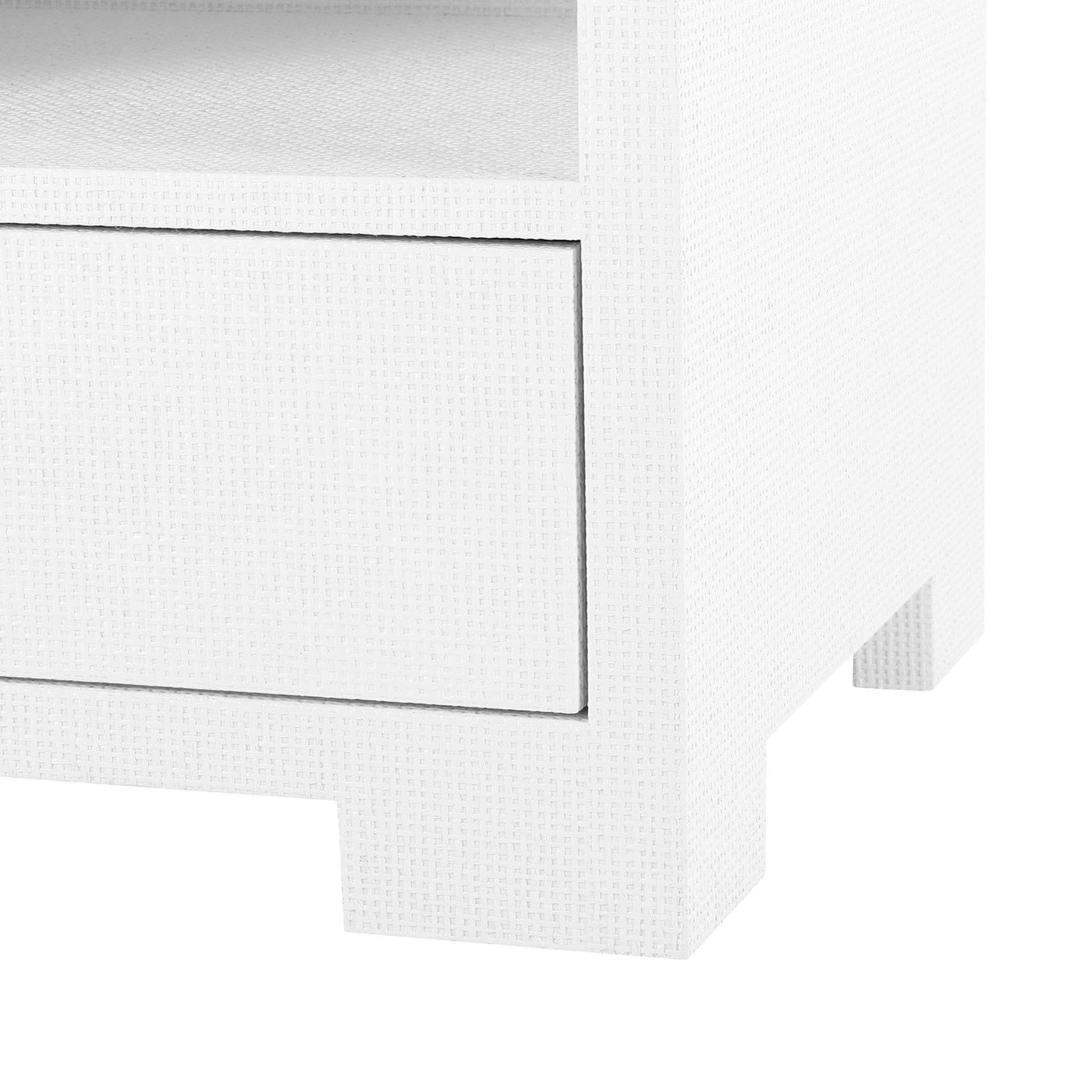 bungalow 5 fedor side table white grasscloth feet