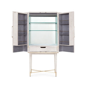 bungalow 5 florian tall bar cabinet white open view