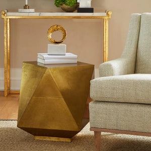 bungalow 5 hedron side table brass styled