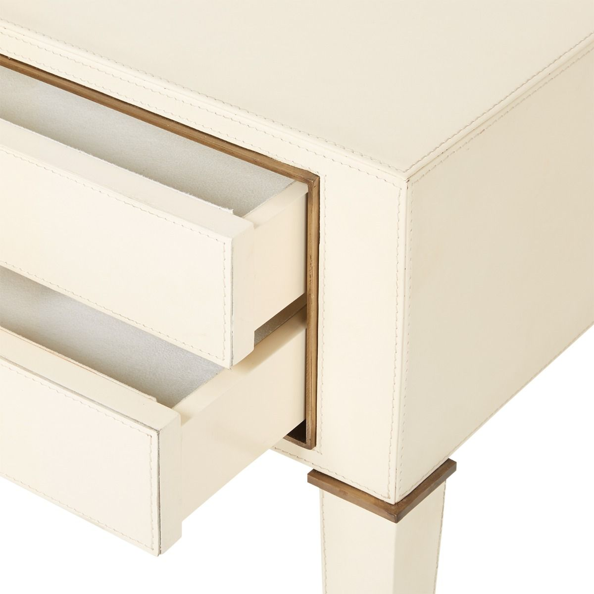 bungalow 5 hunter two drawer side table ivory