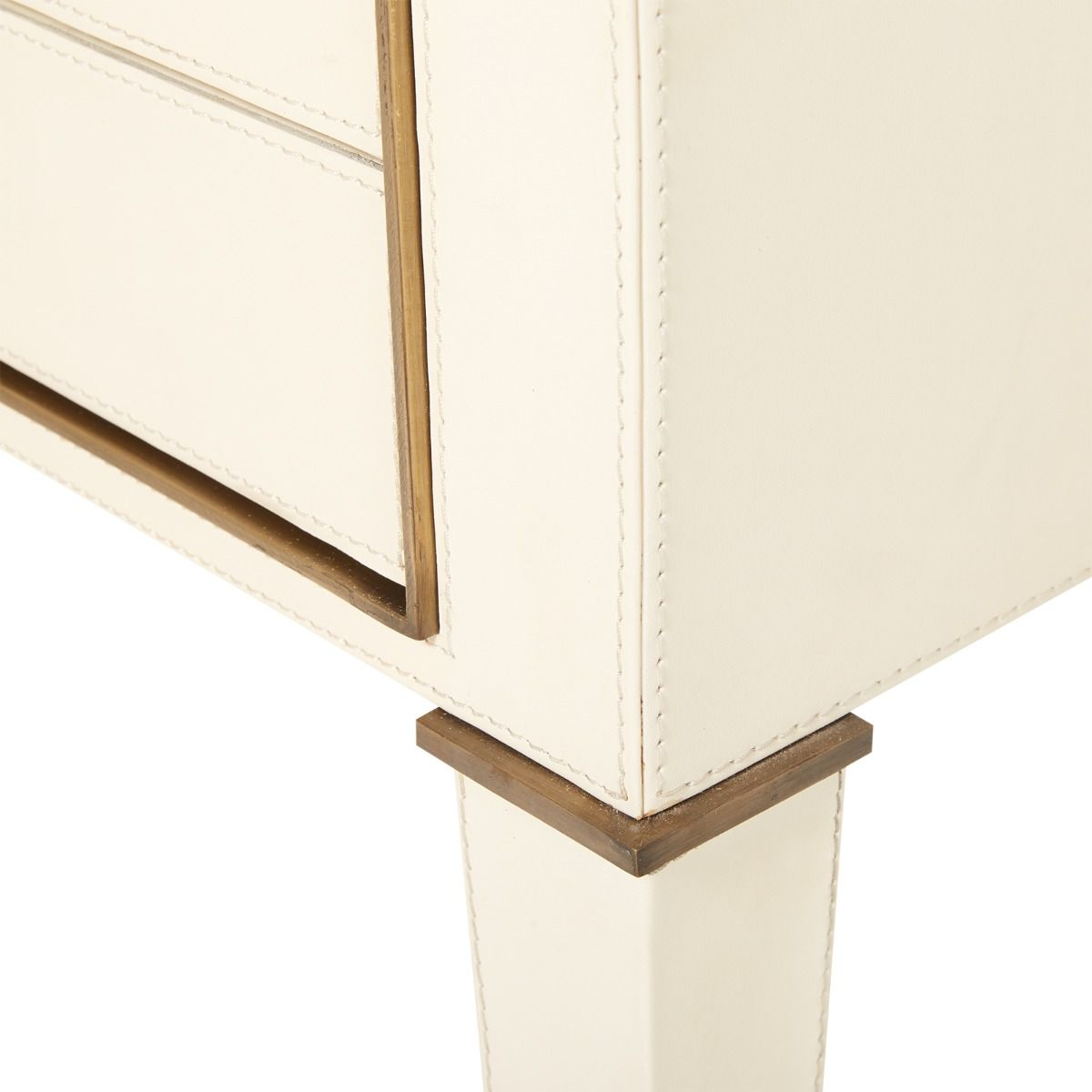 bungalow 5 hunter two drawer side table ivory leg
