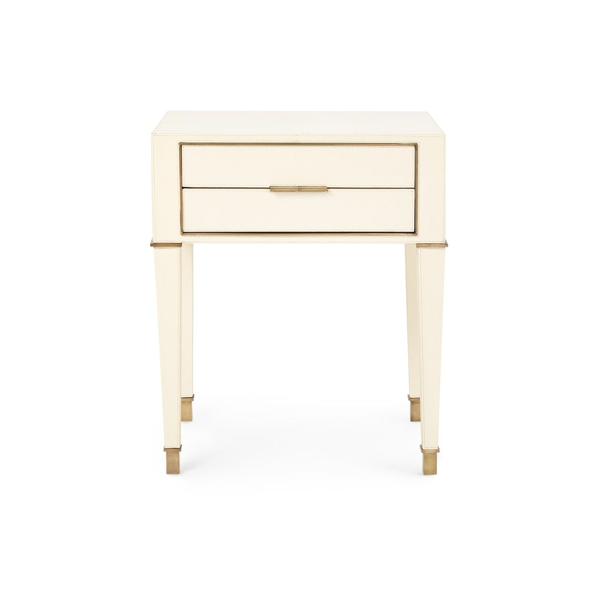 bungalow 5 hunter two drawer side table ivory front
