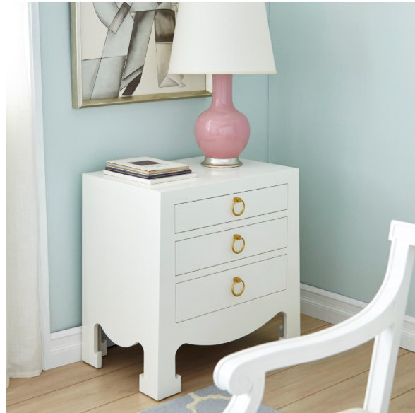 Bungalow 5 Jacqui 3-Drawer Side Table White Dresser Gold
