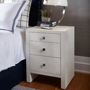 bungalow 5 morgan 3 drawer bedside table white styled in bedroom