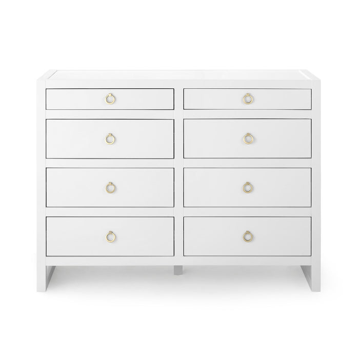 bungalow 5 newton large 8 drawer chest white
