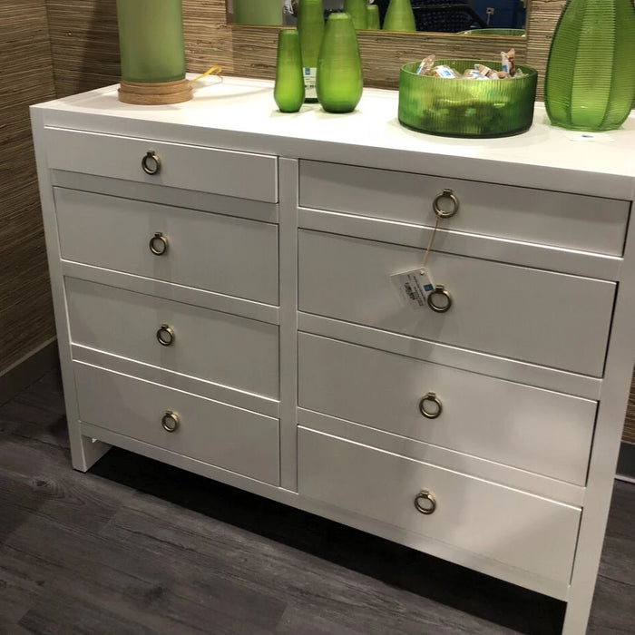 bungalow 5 newton chest white shown in room