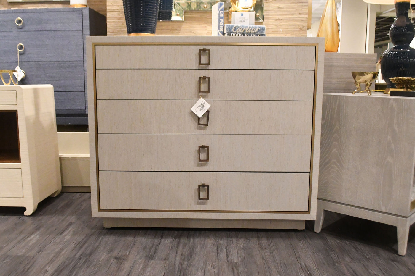 Parker Large 5 Drawer Chest Silver Lacquered Grasscloth