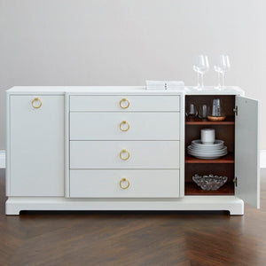 bungalow 5 pavel 4 drawer two door cabinet white door open