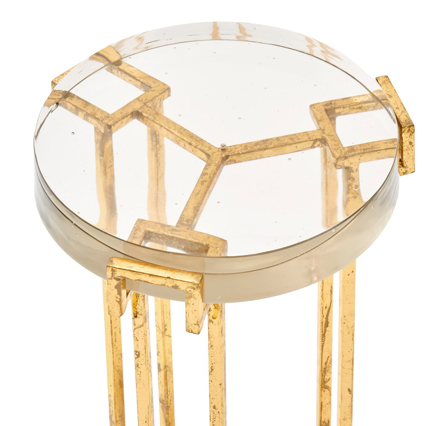 bungalow 5 prism round side table gold top