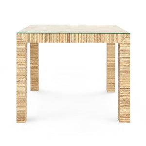 Bungalow 5 Valentina Papyrus Game Table Natural Glass Lacquered