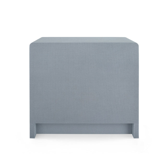 bungalow five bryant linen 3 drawer side table gray back