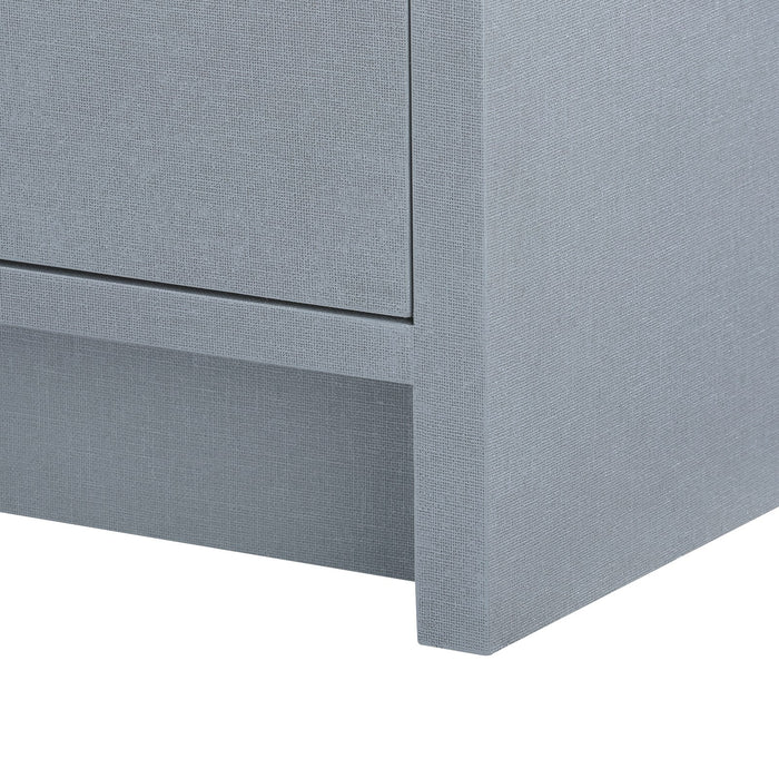 bungalow five bryant linen 3 drawer side table gray leg