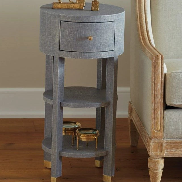 bungalow 5 claudette 1 drawer side table round styled