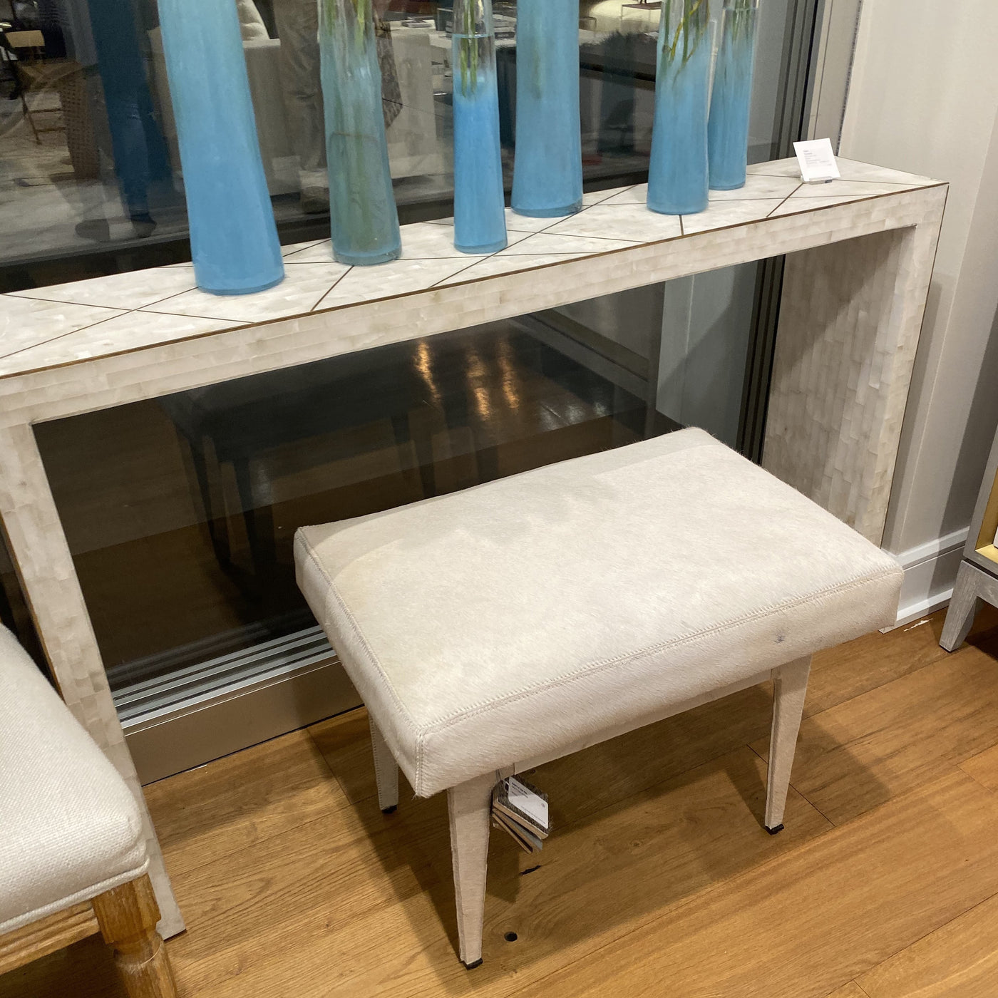 bungalow 5 winston stool ivory hide seating showroom