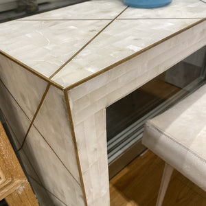 bungalow 5 elgin console white marble brass inlay
