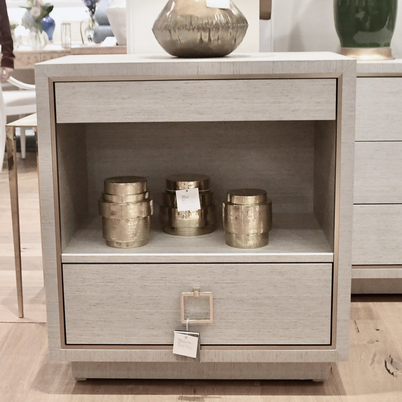 bungalow 5 Parker 2 drawer side table silver