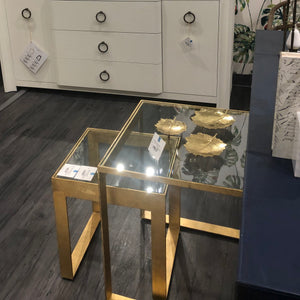 bungalow 5 plano side tables gold glass showroom
