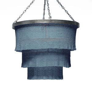 Made Goods Patricia Chandelier Dusty Blue and Silver lighting