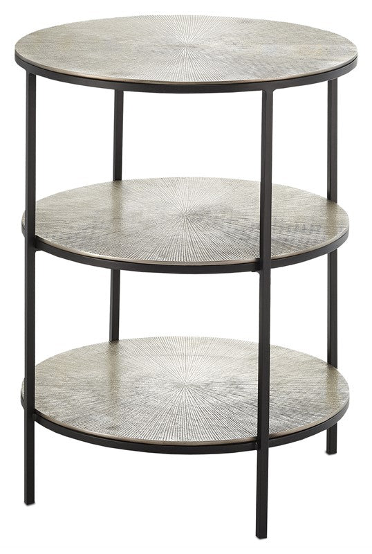 Currey And Company Cane Accent Table Silver