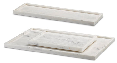 currey and company everett white tray set