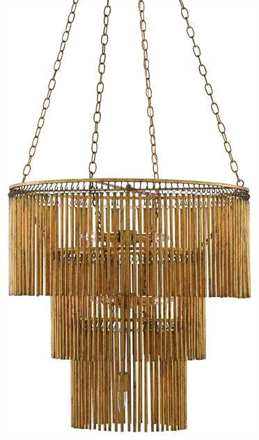Currey and Company Mantra Chandelier Gold Leaf Brass Lighting