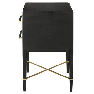 currey and company verona nightstand side view black lacquer