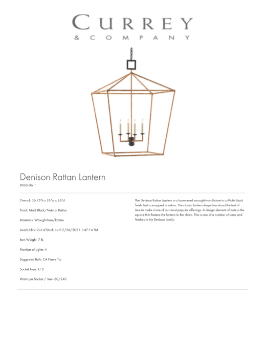 currey and company denison rattan lantern tearsheet