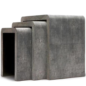 harlow nesting table cool grey gray faux shagreen set of 3 side tables